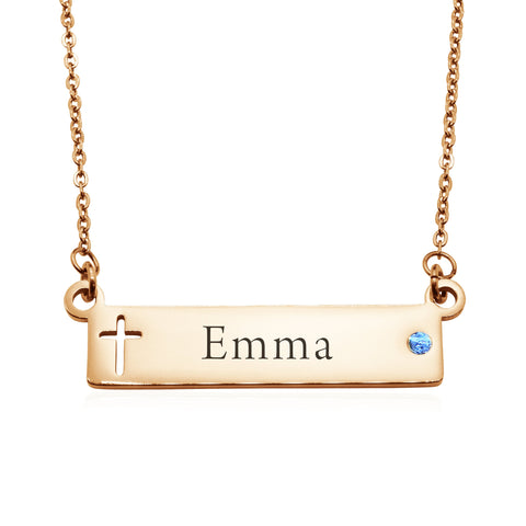 Jess Bar Cross Name Necklace-Rose Gold- BELLE FEVER Personalised Jewellery