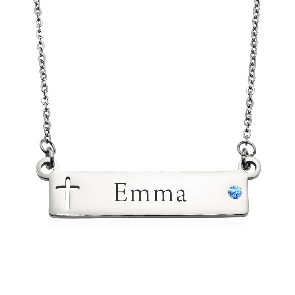 Jess Bar Cross Name Necklace-Silver- BELLE FEVER Personalised Jewellery