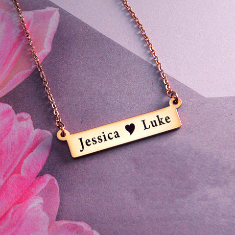 Jess Bar Name Necklace-Silver- BELLE FEVER Personalised Jewellery