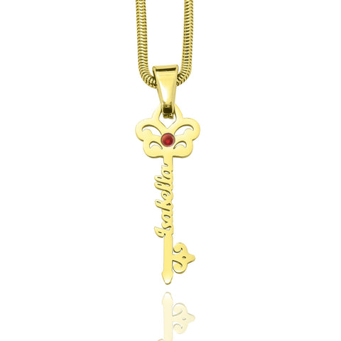 Key Name Necklace-Gold- BELLE FEVER Personalised Jewellery