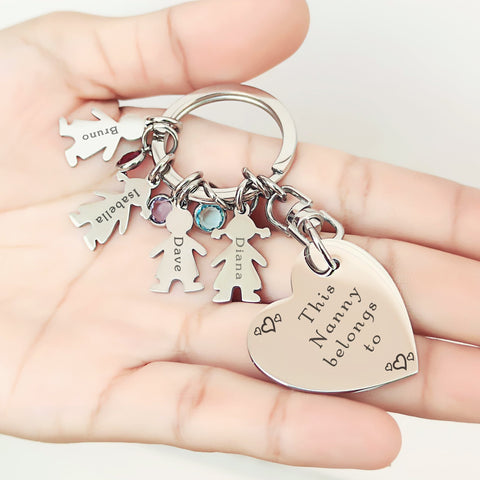 Kids Love Heart Keyring - (1 Silver Child Charm Included)- BELLE FEVER Personalised Jewellery