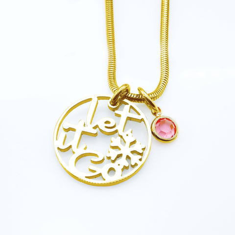 Let it GO Birthstone Necklace-Gold- BELLE FEVER Personalised Jewellery