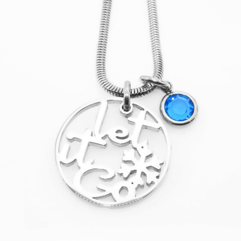 Let it GO Birthstone Necklace-Silver- BELLE FEVER Personalised Jewellery