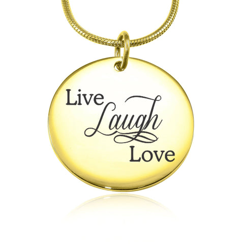 Live Laugh Love Necklace (Not Personalised)-Gold- BELLE FEVER Personalised Jewellery