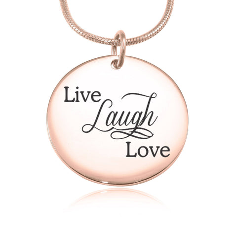 Live Laugh Love Necklace (Not Personalised)-Rose Gold- BELLE FEVER Personalised Jewellery
