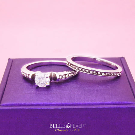 Love Crystal Two Rings Set in Luxury Gift Box-P½ (AU/UK) or 8 (US)- BELLE FEVER Personalised Jewellery