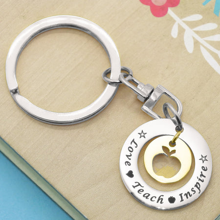 Love Teach Inspire Teacher Keyring-Silver- BELLE FEVER Personalised Jewellery