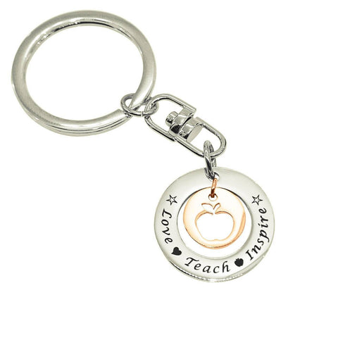 Love Teach Inspire Teacher Keyring-Two Tone Rose Gold- BELLE FEVER Personalised Jewellery