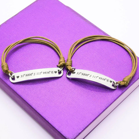 Matching Bar Cord Bracelets-Silver- BELLE FEVER Personalised Jewellery