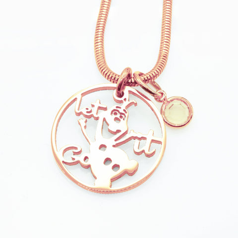 Melting Snowman Birthstone Necklace-Rose Gold- BELLE FEVER Personalised Jewellery