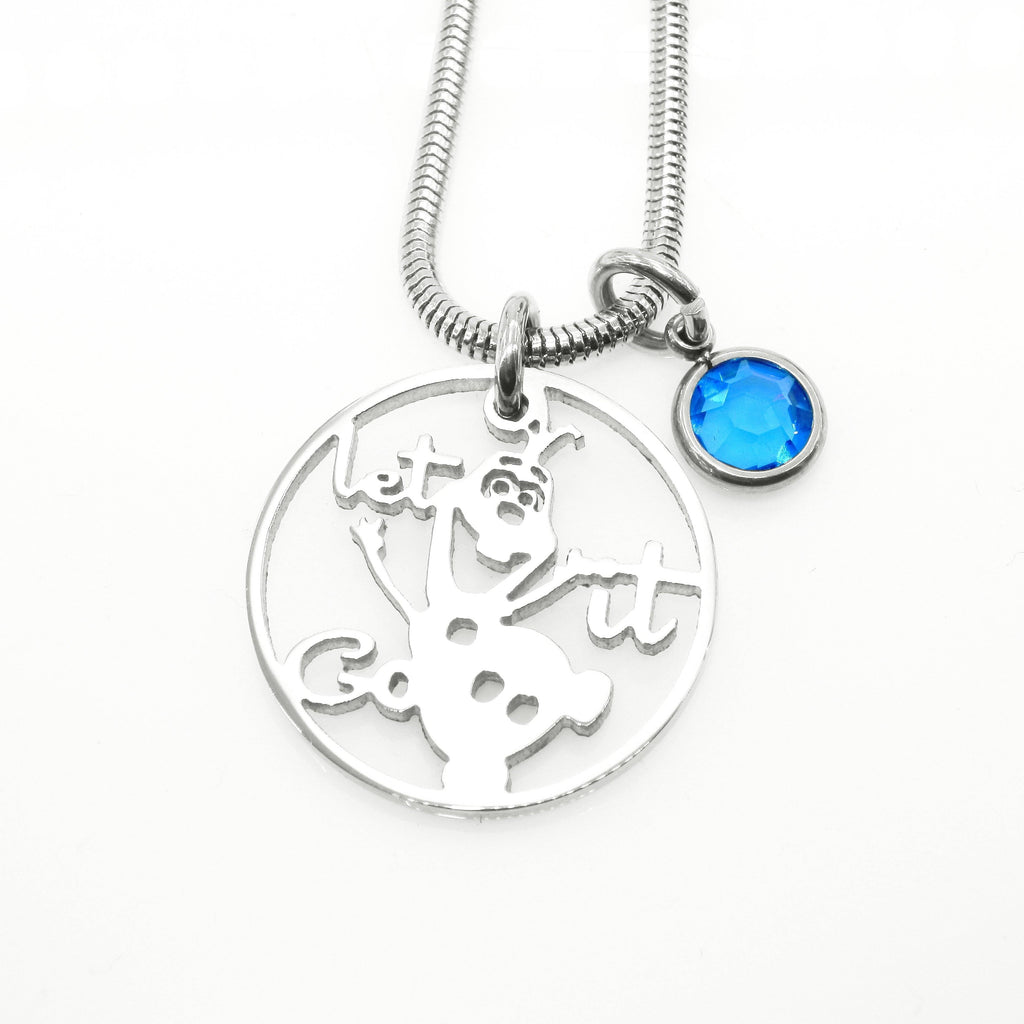 Melting Snowman Birthstone Necklace-Silver- BELLE FEVER Personalised Jewellery
