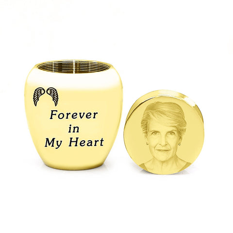 MINI Personalised Photo Keepsake Urn-Gold- BELLE FEVER Personalised Jewellery