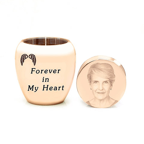 MINI Personalised Photo Keepsake Urn-Rose Gold- BELLE FEVER Personalised Jewellery