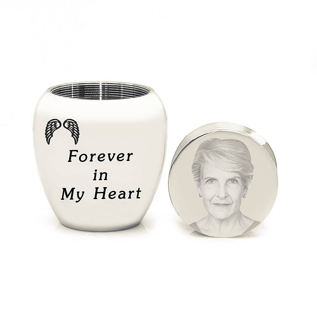MINI Personalised Photo Keepsake Urn-Silver- BELLE FEVER Personalised Jewellery