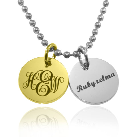 Monogram Initial Disc Necklace-Two Tone Gold- BELLE FEVER Personalised Jewellery