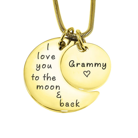 Moon and Back Necklace-Gold- BELLE FEVER Personalised Jewellery
