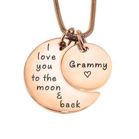 Moon and Back Necklace-Rose Gold- BELLE FEVER Personalised Jewellery