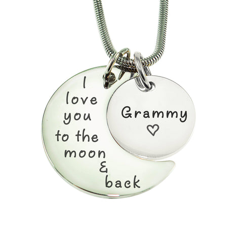 Moon and Back Necklace-Silver- BELLE FEVER Personalised Jewellery