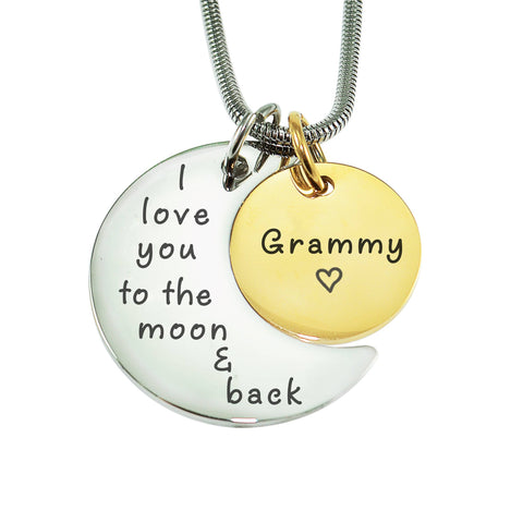 Moon and Back Necklace-Two Tone Gold- BELLE FEVER Personalised Jewellery