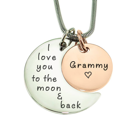 Moon and Back Necklace-Two Tone Rose Gold- BELLE FEVER Personalised Jewellery