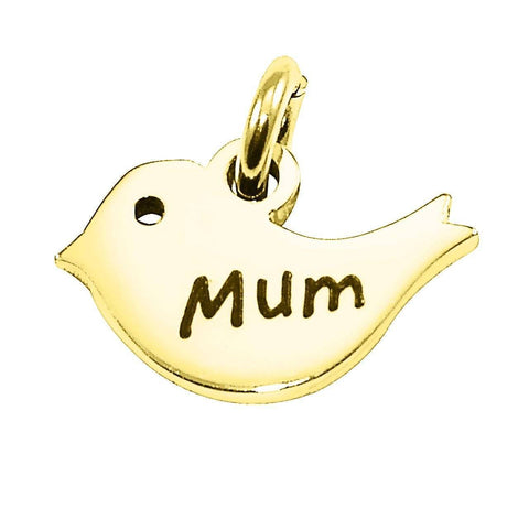 Mother Bird Charm for Keyring-Gold- BELLE FEVER Personalised Jewellery