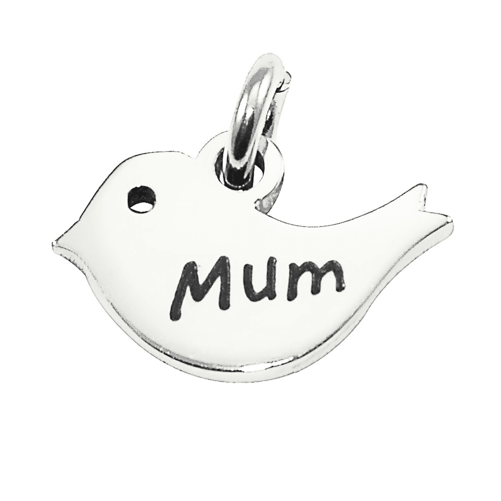 Mother Bird Charm for Keyring-Silver- BELLE FEVER Personalised Jewellery