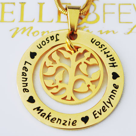 My Family Tree Necklace-Silver- BELLE FEVER Personalised Jewellery