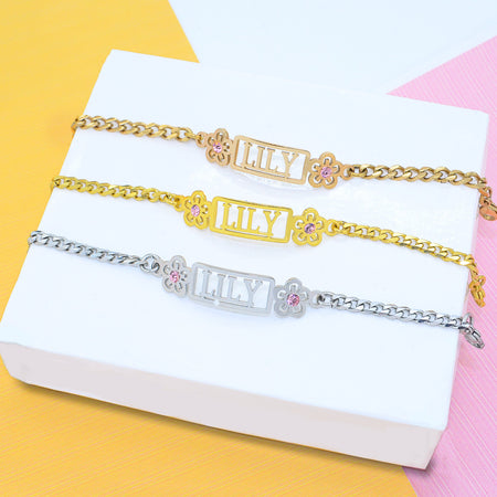 Name Bracelet (Birthstones Optional)-Silver- BELLE FEVER Personalised Jewellery