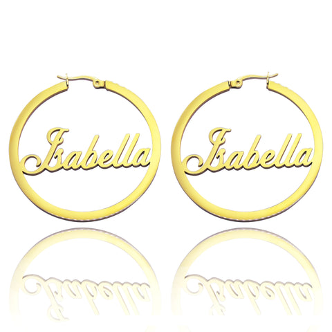 Name Hoop Earrings-Gold- BELLE FEVER Personalised Jewellery