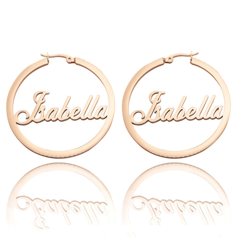 Name Hoop Earrings-Rose Gold- BELLE FEVER Personalised Jewellery