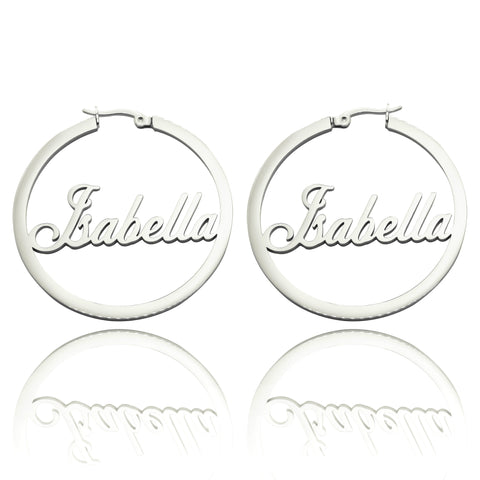Name Hoop Earrings-Silver- BELLE FEVER Personalised Jewellery