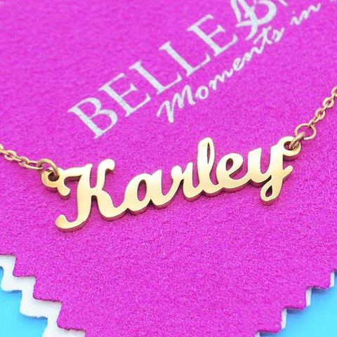 Name Necklace (Birthstones Optional)-Silver- BELLE FEVER Personalised Jewellery