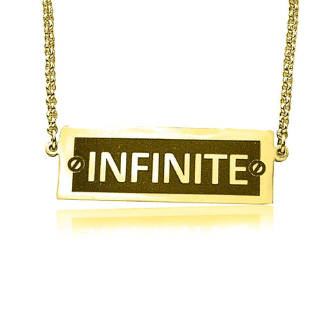 Number Plate Name Bar Necklace-Gold- BELLE FEVER Personalised Jewellery