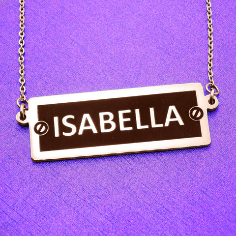 Number Plate Name Bar Necklace-Silver- BELLE FEVER Personalised Jewellery