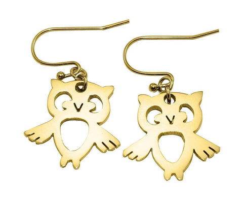 Owl Earrings-Gold- BELLE FEVER Personalised Jewellery