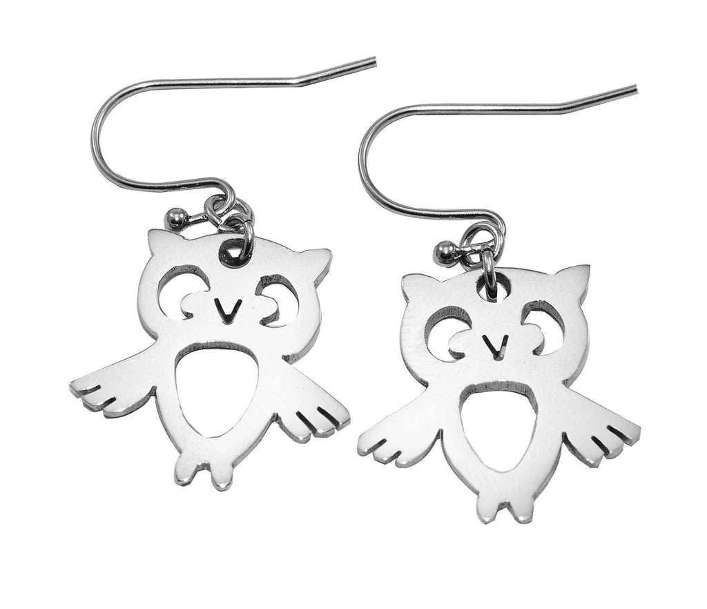 Owl Earrings-Silver- BELLE FEVER Personalised Jewellery