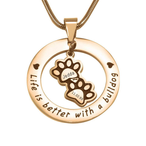 Paw Prints Washer Necklace-Rose Gold- BELLE FEVER Personalised Jewellery