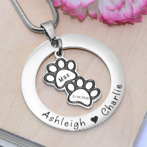 Paw Prints Washer Necklace-Silver- BELLE FEVER Personalised Jewellery