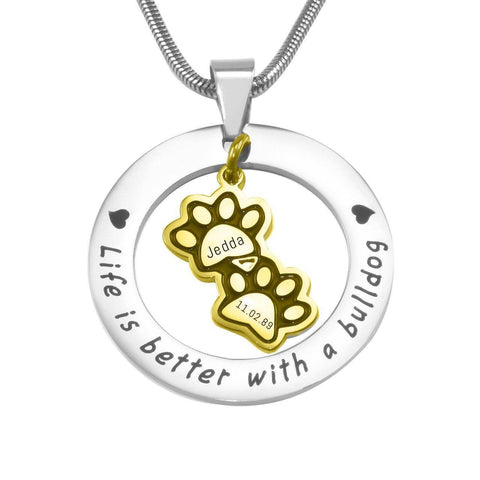 Paw Prints Washer Necklace-Two Tone Gold- BELLE FEVER Personalised Jewellery