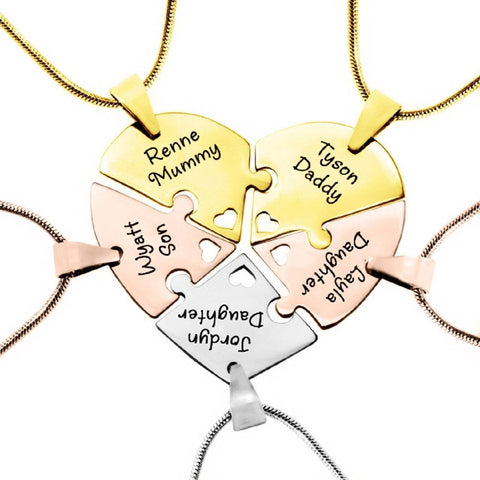 Penta Heart Puzzle - Five Personalised Necklaces- BELLE FEVER Personalised Jewellery