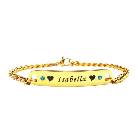 Personalised Birthstone Bracelet-Gold- BELLE FEVER Personalised Jewellery