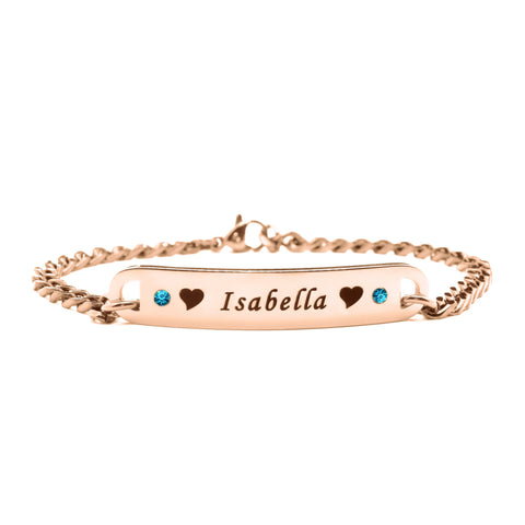Personalised Birthstone Bracelet-Rose Gold- BELLE FEVER Personalised Jewellery