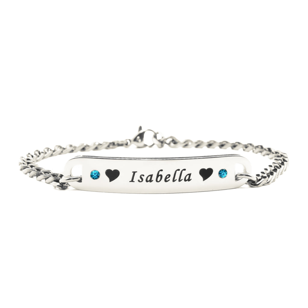 Personalised Birthstone Bracelet-Silver- BELLE FEVER Personalised Jewellery