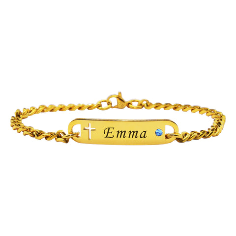 Personalised Cross Birthstone Bracelet-Gold- BELLE FEVER Personalised Jewellery