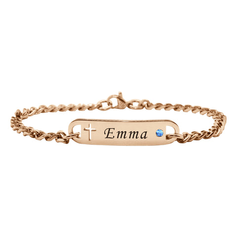Personalised Cross Birthstone Bracelet-Rose Gold- BELLE FEVER Personalised Jewellery