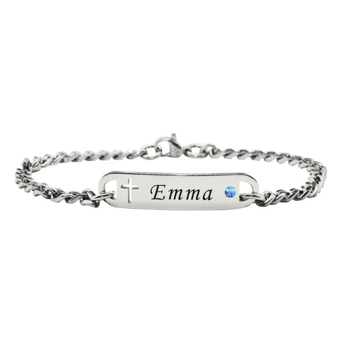 Personalised Cross Birthstone Bracelet-Silver- BELLE FEVER Personalised Jewellery