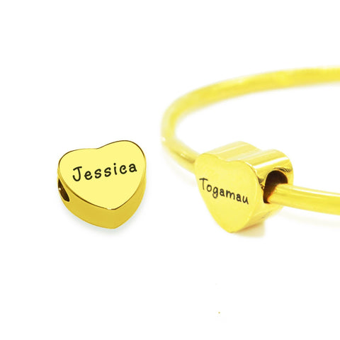 Personalised Heart Charm for Moments Bracelet-Gold- BELLE FEVER Personalised Jewellery