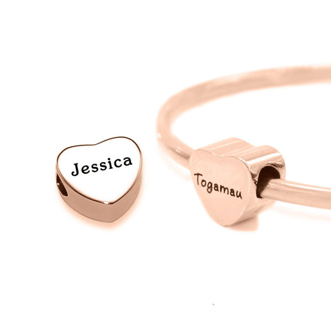 Personalised Heart Charm for Moments Bracelet-Rose Gold- BELLE FEVER Personalised Jewellery