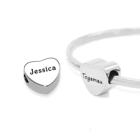 Personalised Heart Charm for Moments Bracelet-Silver- BELLE FEVER Personalised Jewellery