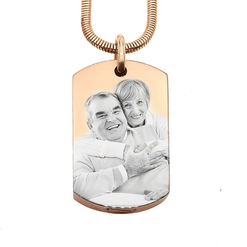 Personalised Memory Photo Tag Canister Necklace-Rose Gold- BELLE FEVER Personalised Jewellery